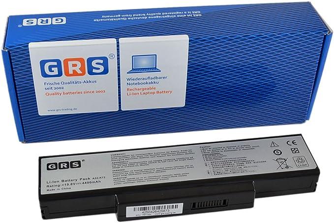 GRS Batería para ASUS A72, ASUS K72DR, A72J, N71, K72, K73, sustituye a: A32-K72, A32-N71, 70-NXH1B1000Z, 70-NZYB1000Z, 70-NX01B1000Z, 70-NZY1B1000Z, Laptop Batterie 4400mAh, 10.8V: Amazon.es: Informática