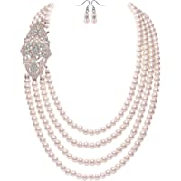 BABEYOND 1920s Gatsby Pearl Necklace Vintage Bridal Pearl Necklace Earrings Jewelry Set Multilayer Imitation Pearl…