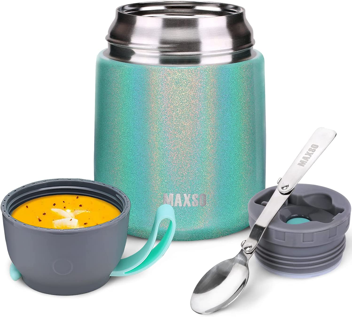 17oz Vacuum Insulated Food Jar Hot Food Containers for Lunch School Soup Thermos For Kids,Travel Food Flask Hot Cold (Peacock)