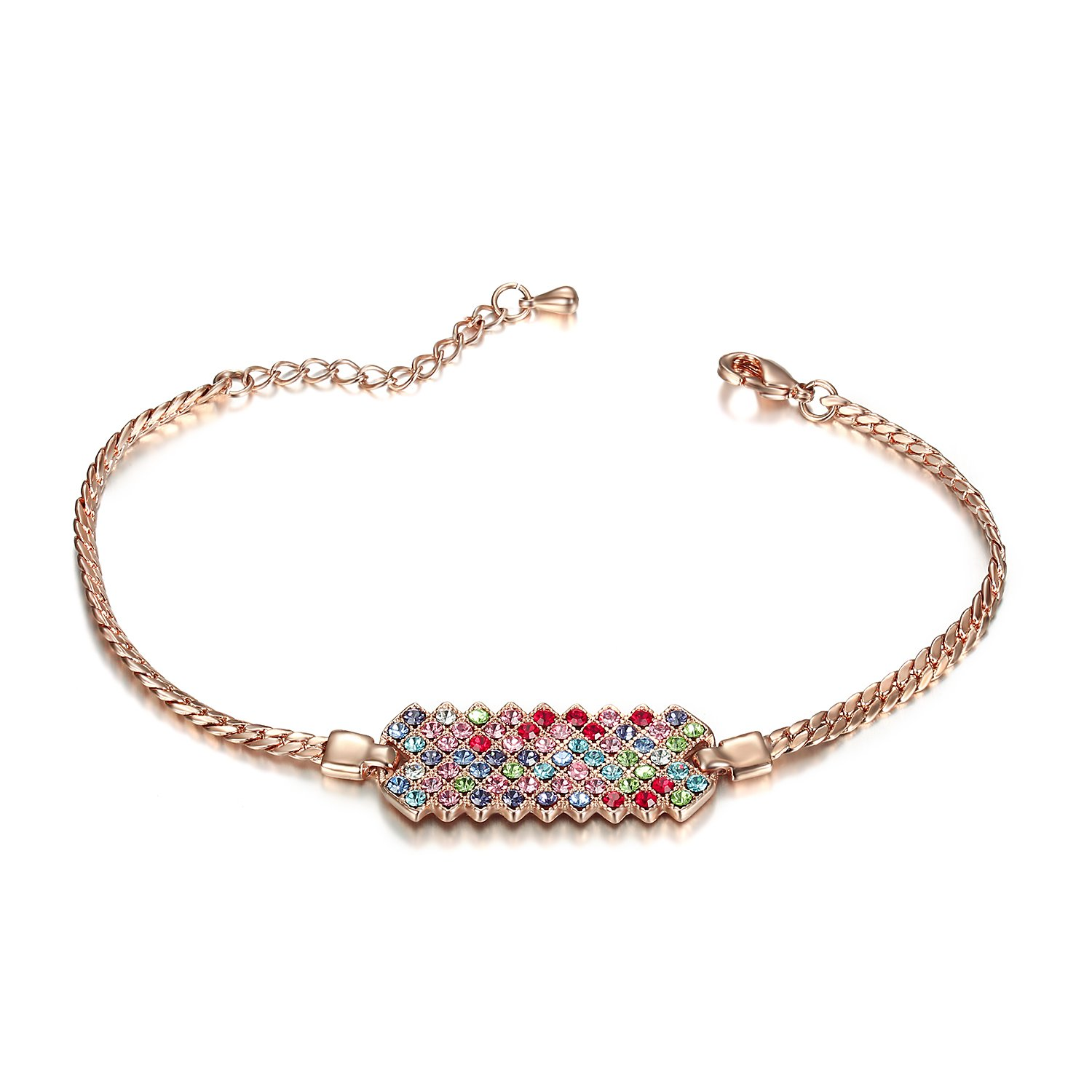 Lee Island Fashion Jewelry 18K Rose Gold Plated Multicolor Austrian Crystal Adjustable Fashion Bar Bracelet For Woman Girl Gift-Gift Packing MSRP USD120 SL0001-Multicolor