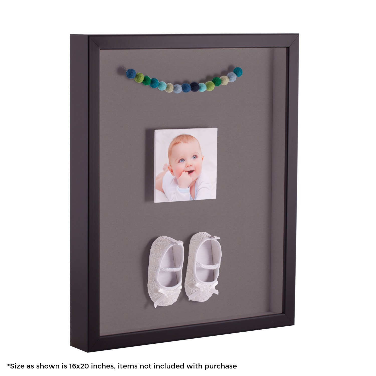 ArtToFrames 24 x 36 Inch Shadow Box Picture Frame, with a Satin Black 1'' Shadowbox frame and Pewter Mat