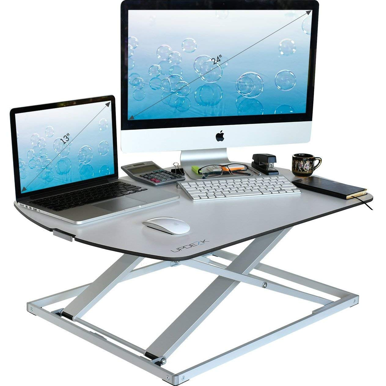 Height Adjustable Standing Desk Converter - Stand Up Desk Used as Computer and Monitor Stand - Ultra Slim Stunning Design - White - 31''x22''