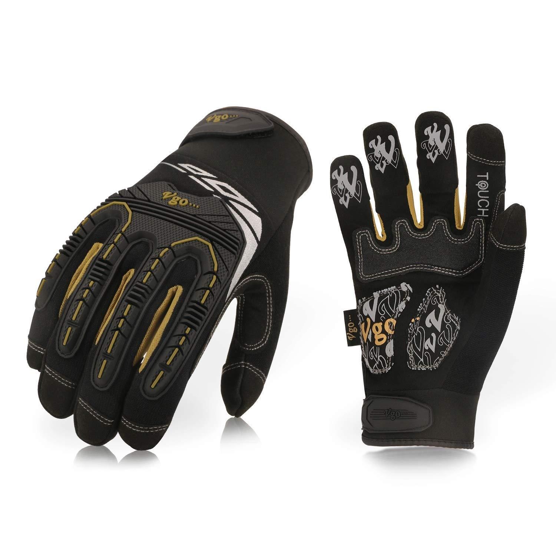 Vgo 3 pairs High Dexterity Heavy Duty Mechanic Glove, Rigger Glove, Driver/Work/Garden/Builder Gloves (Anti-vibration, Anti-abrasion, Touchscreen, TPR knuckle, EVA padding) (Size 10/XL, Black, SL8848) Laborsing Safety Products Inc.