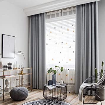 BigTown Linen Blackout Curtains 2 Panels Room Darkening Window Drapes for  Living Room Bedroom, Modern Hotel Solid Grommet Curtain Drapes (Grey, 100\