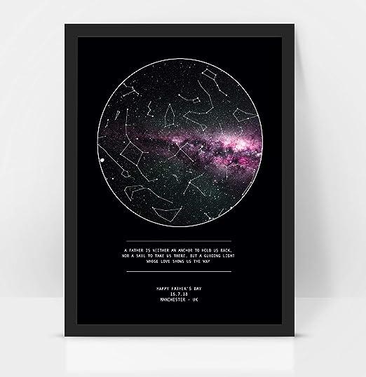 Mapa personalizado del día del padre con constelación impreso, enmarcado/sin marco, negro, A3 with frame: Amazon.es: Hogar