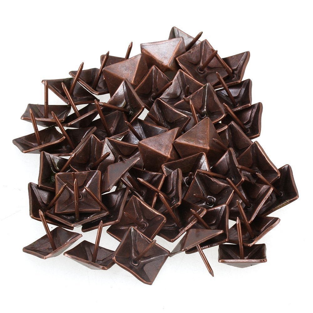 Ewead, 19 x 21mm Red Bronze Antique Square Upholstery Nails Tack Pyramid Studs Vintage Iron Furniture Nails Pack of 50
