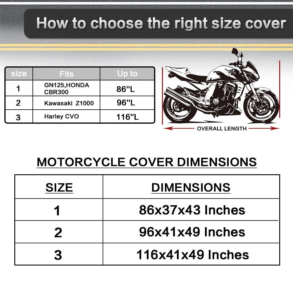 powertiger todos temporada 210d Oxford impermeable sol funda para motocicletas, color negro + plata fundas de resistente al polvo para moto, 3 tamaños para ...
