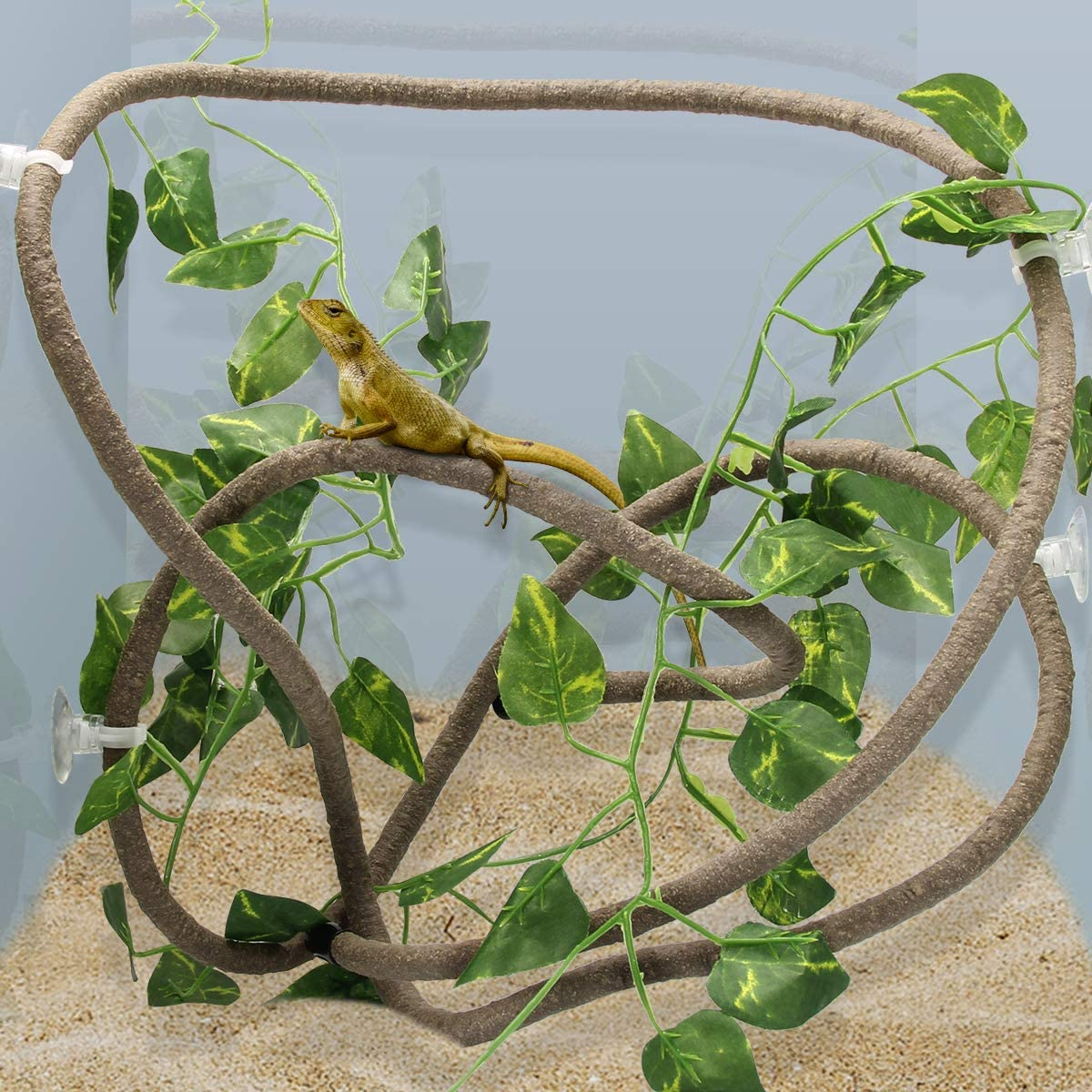 Coolrunner 8FT Reptile Vines and Flexible Reptile Leaves with Suction Cups Jungle Climber Long Vines Habitat Decor for Climbing, Chameleon, Lizards, Gecko