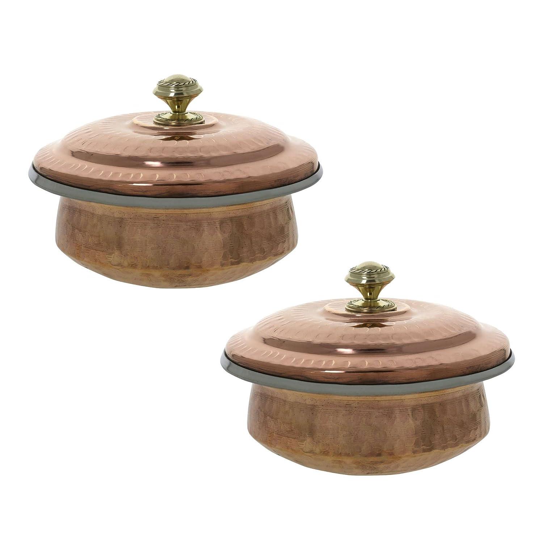 ShalinIndia set indiano di stoviglie di rame 2 porzione ciotola zuppiere con coperchio 500 ml ShalinCraft