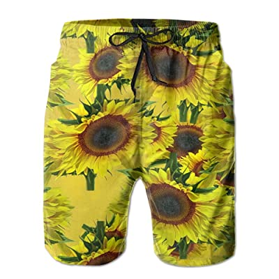 Vcddjns4 Sunflower Pattern Men's Sports Pants Swimming Trousers Leisure Shorts Breathable Beach Pants