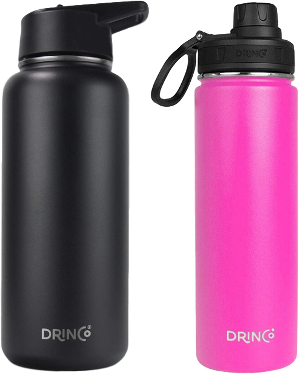 Drinco - Stainless Steel Water Bottle Double Wall Vacuum Insulated   Perfect for Traveling Camping Hiking (Combo 32oz + 20oz, Black & Island Pink)