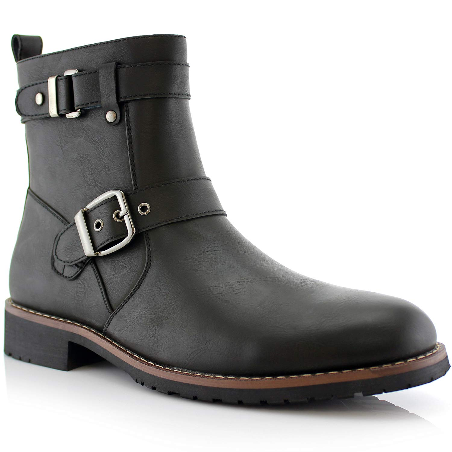 Mens Retro Shoes | Vintage Shoes & Boots Polar Fox Wyatt MPX608005 Mens Casual Engineer Zipper and Buckle Motorcycle Boots $52.69 AT vintagedancer.com