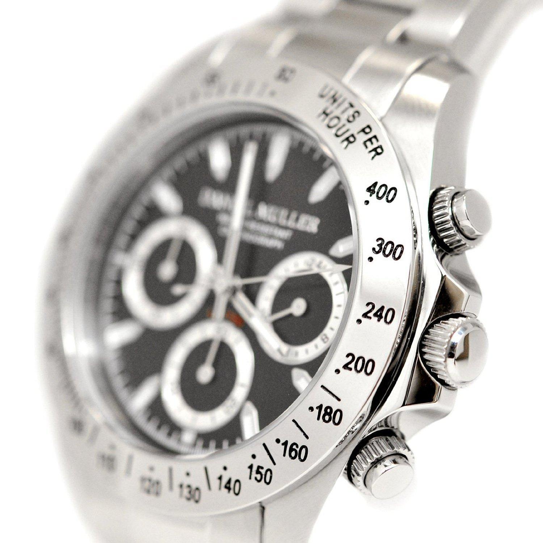Amazon.com: DANIEL MULLER Chronograph Watch Mens Watch DM-2003BK Silver ~ Black Men: Watches