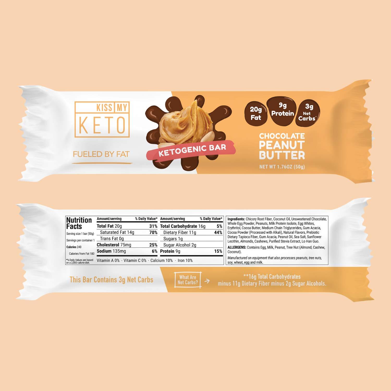 Kiss My Keto Snacks Keto Bars - Keto Chocolate Peanut Butter (3 Pack, 36 Bars), Nutritional Keto Food Bars, Paleo, Low Carb/Glycemic Keto Friendly Foods, All Natural On-The-Go Snacks, 3g Net by Kiss My Keto (Image #4)