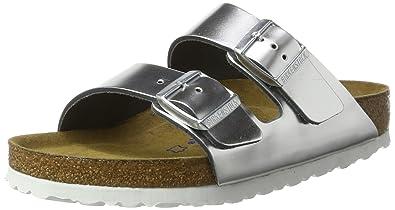 e469d5441fbc Birkenstock Arizona Natural Leather Soft Footbed Womens Sandals Metallic  Silver
