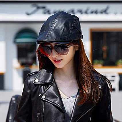 78c3af8b7f4 Image Unavailable. Image not available for. Color  Women women berets  female winter leisure wild leather cap fashion women s solid color uniform  code can