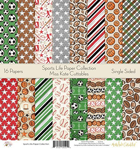 - Pattern Paper Pack - Sports Life - Scrapbook Premium Specialty Paper Single-Sided 12