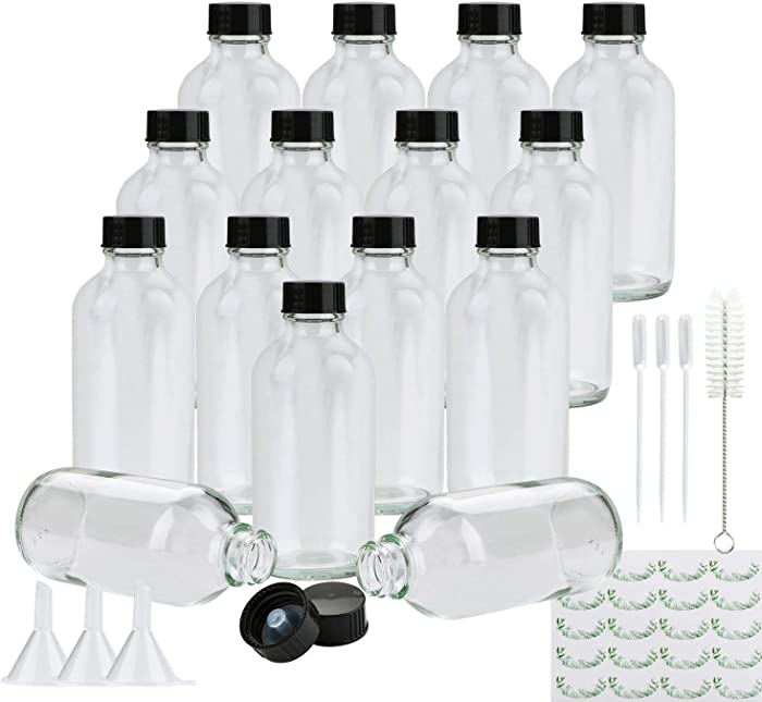Clear Glass Bottles, Maredash 15 Pack Glass Storage Bottles with Black Lids (15 Labels, 3 Funnels, 3 Droppers, Brush)