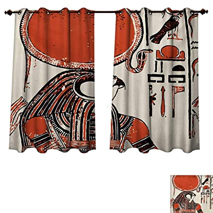 Gentil RuppertTextile Egyptian Bedroom Thermal Blackout Curtains Papyrus With  Graphic Print With Ancient Egyptian Language Symbol Vintage