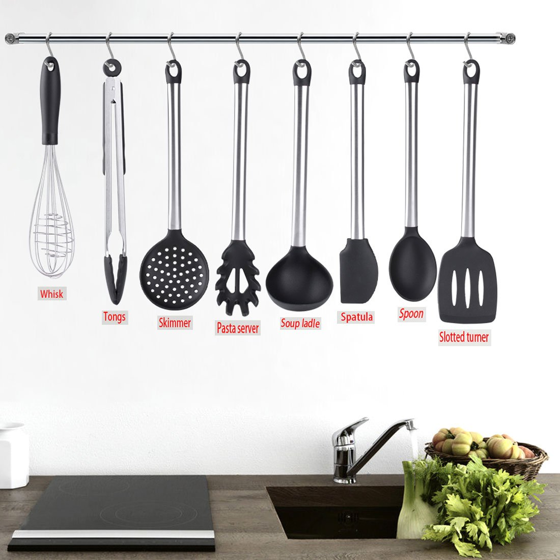 Cooking Utensils, Wifond Kitchen Utensils Set, 8-piece Silicone Stainless Steel Cooking Tools, Gadgets Set - Tongs, Spatula, Slotted Turner, Soup Ladle, Skimmer, Spoon, Pasta Server, Whisk