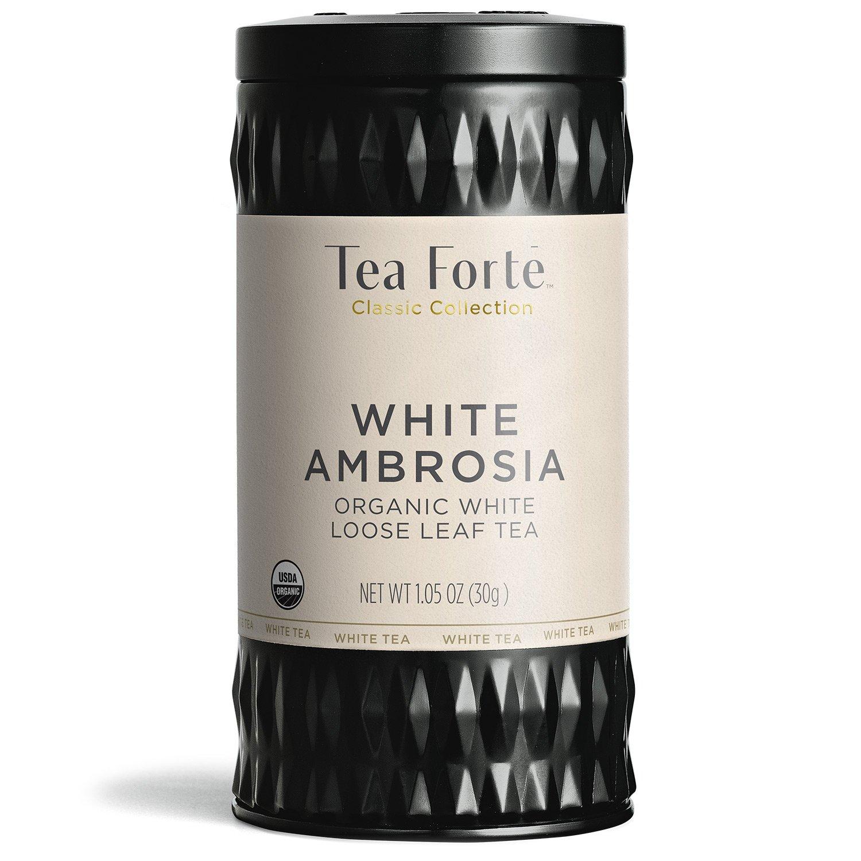 Tea Forte Organic White Tea WHITE AMBROSIA, 1.05 Ounce Loose Leaf Tea Canister