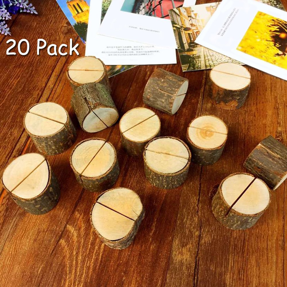 Aimyoo Wooden Card Holders Table Number Stands for Home Party Decoration Wedding Favors (Pack of 20) by Aimyoo