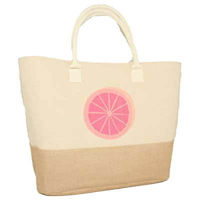 Silver One Oversized Water Resistant Canvas & Woven Combo Travel Beach Tote Bag with Durable Canvas Handle