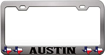 Made In Texas Chome Metal License Plate Frame Tag Holder