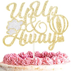 Up Up and Away Cake Topper Happy Birthday Gold Glitter Hot Air Balloon with Cloud Travel Theme Party Decorations Picks for Baby Shower Birthday Decor Supplies