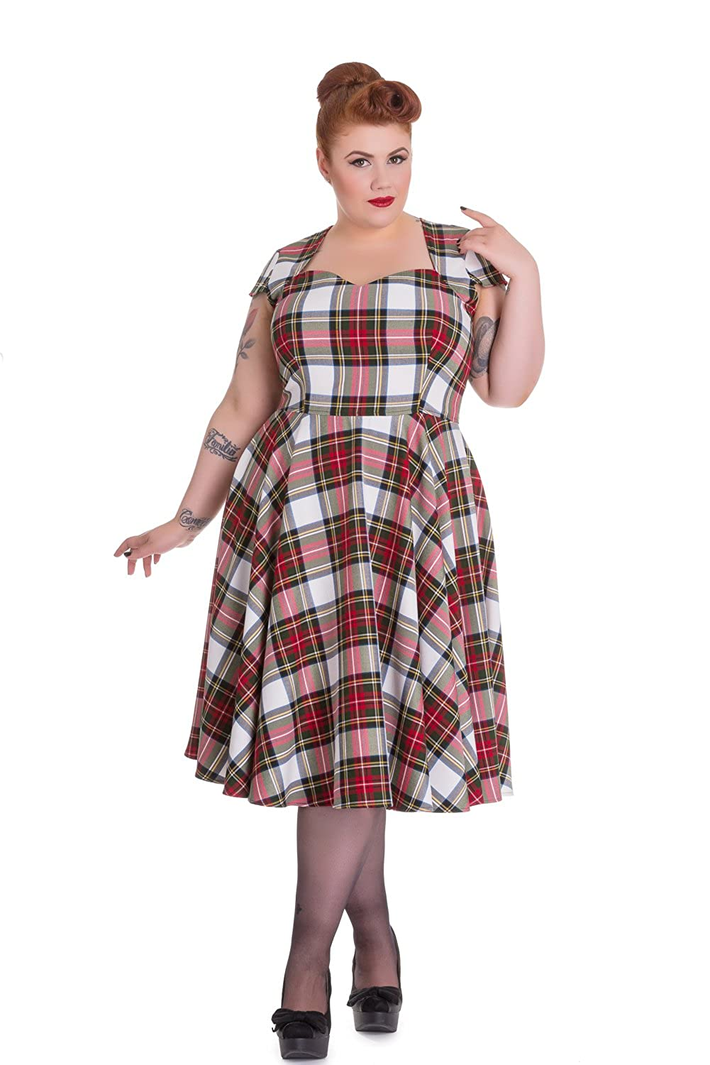 1950s Plus Size Dresses, Clothing and Costumes Hell Bunny Plus Vintage Inspired London Love Stewart Tartan Flare Dress $95.00 AT vintagedancer.com