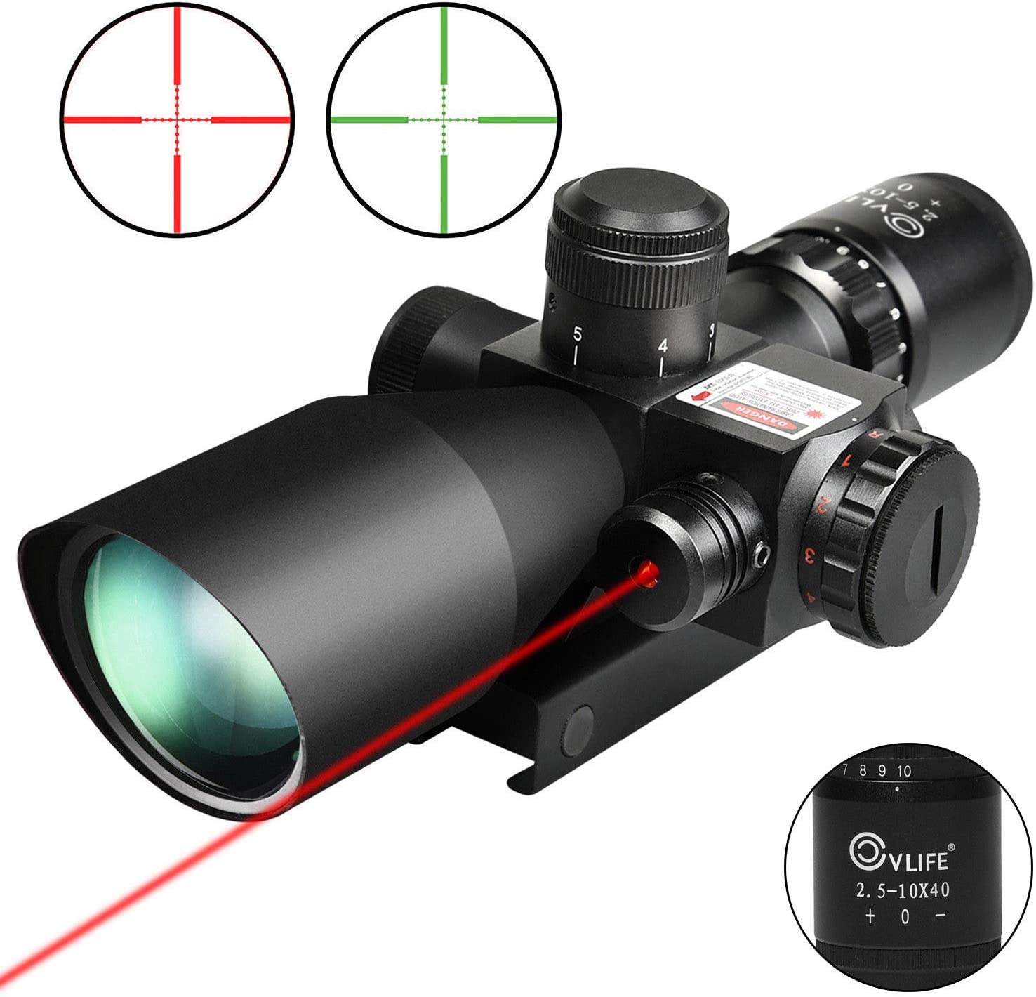 Best Hunting Scope: CVLIFE 2.5-10x40e Red & Green Illuminated Scope with 20mm Mount