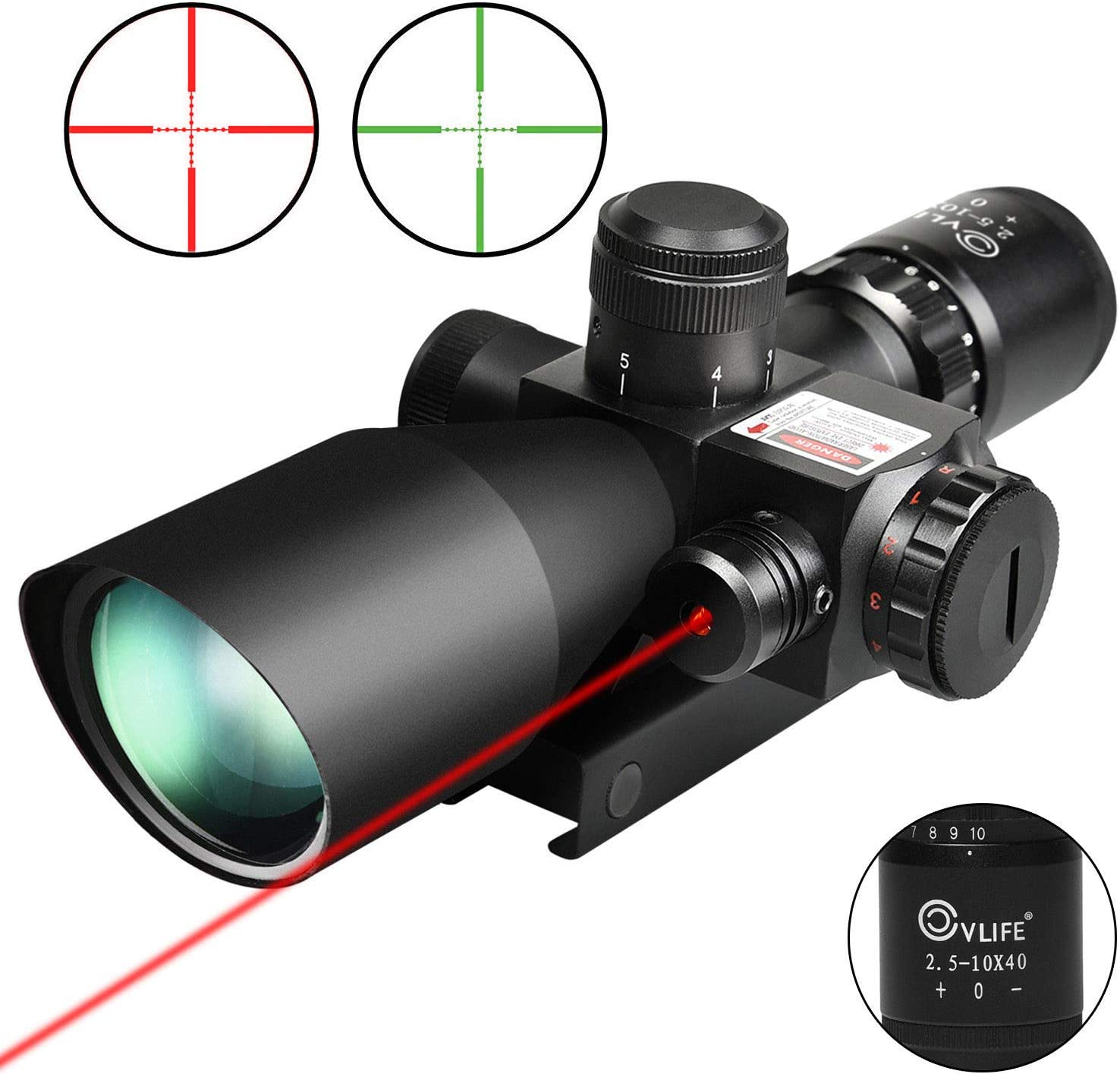 1. CVLIFE 2.5-10x40e Red & Green Illuminated Scope with 20mm Mount