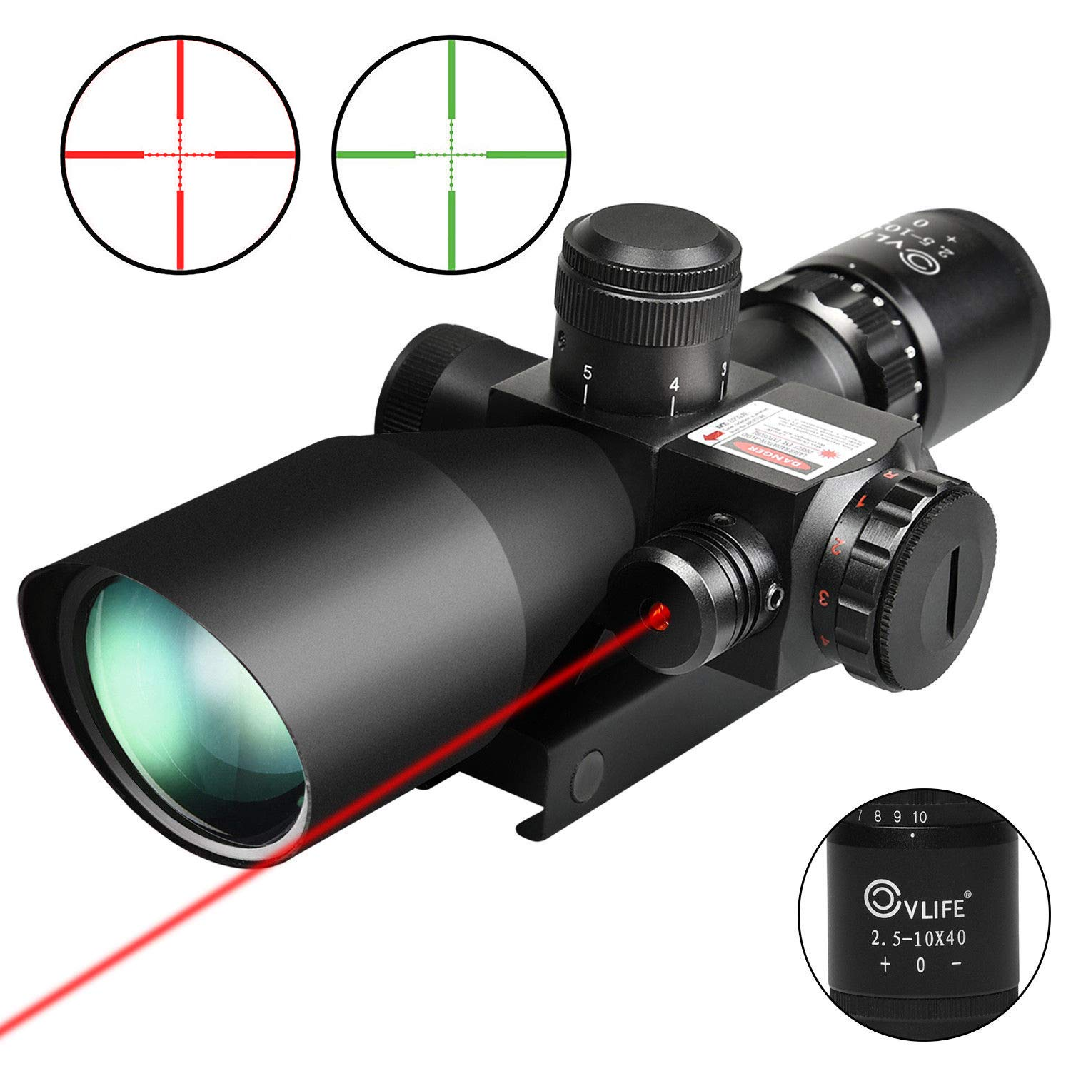 1.CVLIFE 2.5-10x40e Red & Green Illuminated Scope