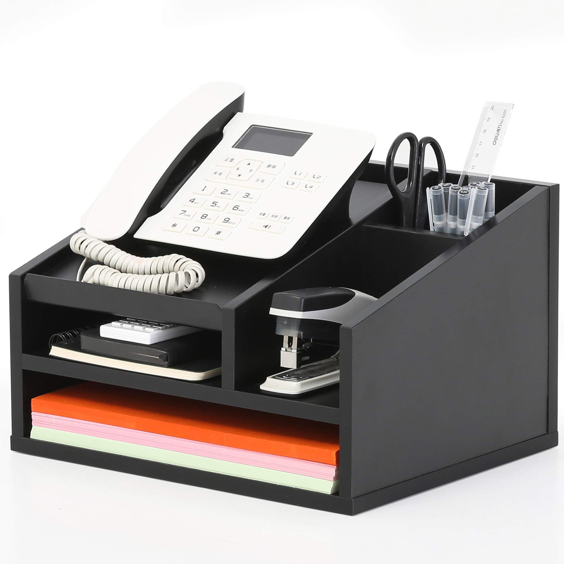 FITUEYES Wood Office Suppies Desk Organizer 5 Compartments with Letter Tray Phone Stand Pen Pencil Holder by FITUEYES
