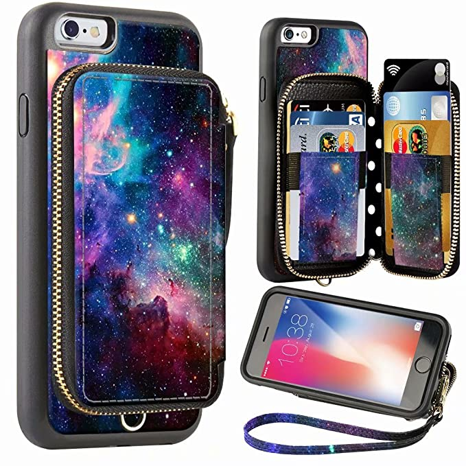 watch 60834 f2b8e ZVE Wallet Case for Apple iPhone 6 Plus and iPhone 6s Plus, 5.5 inch,  Zipper Wallet Case with Credit Card Holder Slot Handbag Purse Print Cover  for ...