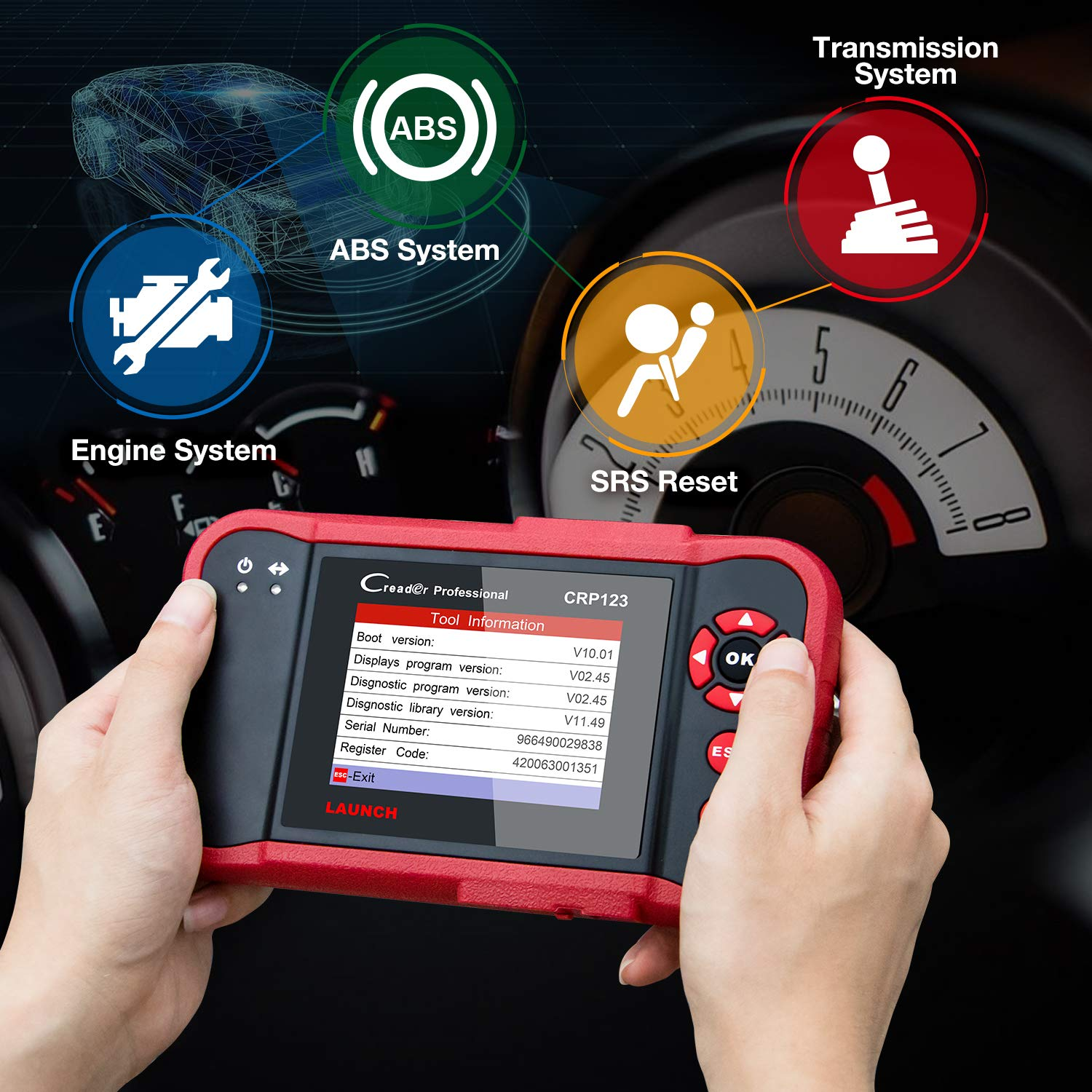 LAUNCH X431 Creader CRP123 Automotive Diagnostic Scan Tool OBD2 Auto Code  Reader Support ENG/TCM/ABS/SRS System Code Reader with EL-50448 TPMS
