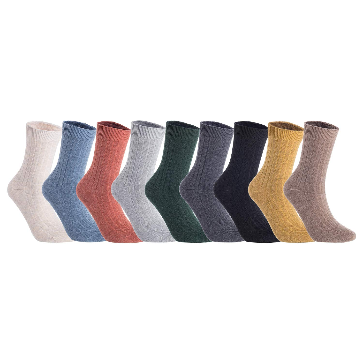 (Assorted) AATMart Women's 5 Pairs Pack Fashion Soft Wool Crew Socks Size 69 HR1690