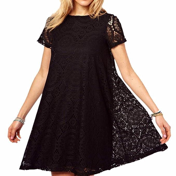 Ineinander greifen Hoehle Spitze Rundhals Kurzarm-Kleid-Dame-reizvolle  duenne hohe Taillen-Kleid: Amazon.de: Bekleidung