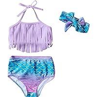 Toddler Baby Girl Bikini Swimsuit Tassels Mermaid Dinosaur Print Bowknot Swimwear Suit Summer Outfits