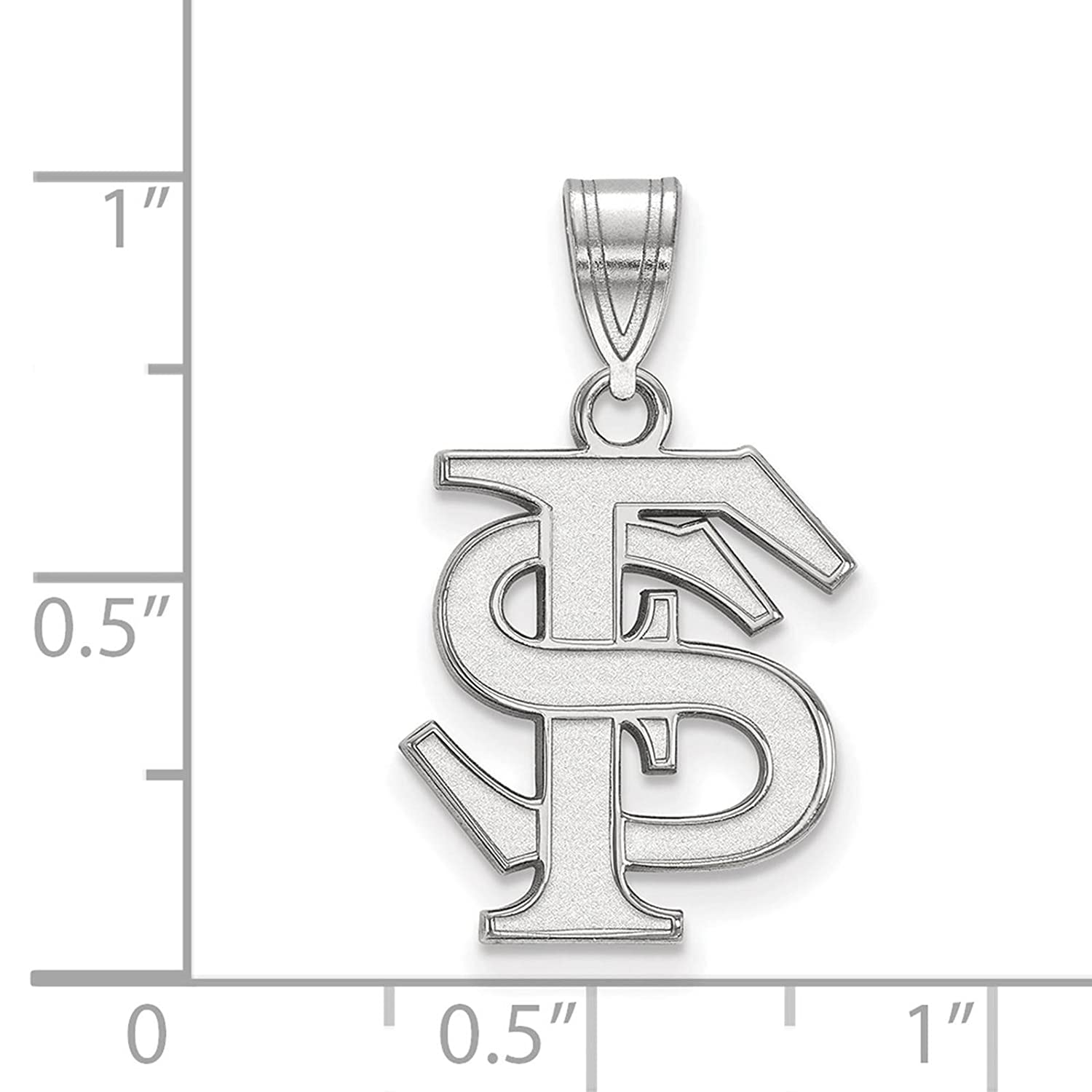 925 Sterling Silver Rhodium-plated Laser-cut Florida State University Medium Pendant