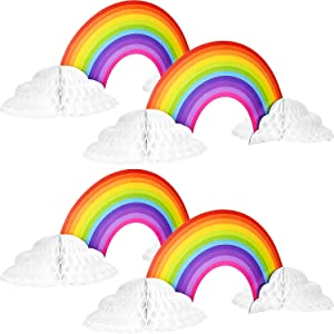 Rainbow Honeycomb Paper Centerpiece No Crease Rainbow Cloud Centerpieces Converting Rainbow Centerpieces for Birthday Baby Shower Decoration (4)