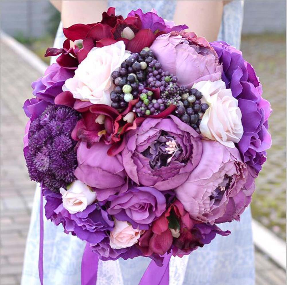 GJX Hand-made Bride Bouquet Artificial Rose Bouquets Europe And America Charm Purple Craft Gift Wedding Supplies