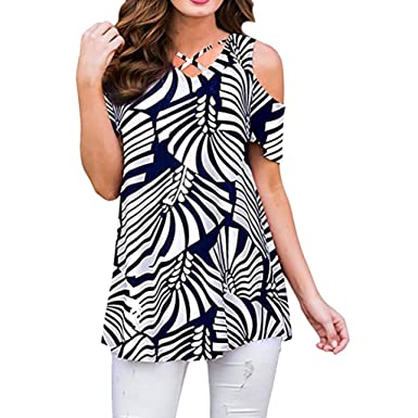 b928f8a0cc91d Women 3 4 Sleeve Floral Print Cold Shoulder Loose Blouse Tunic Malbaba Off Shoulder  Top