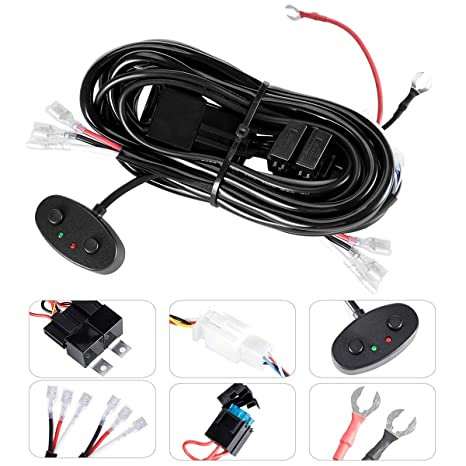KAWELL Universal 2 Lead LED Light Bar Wiring Harness Kit with Fuse on