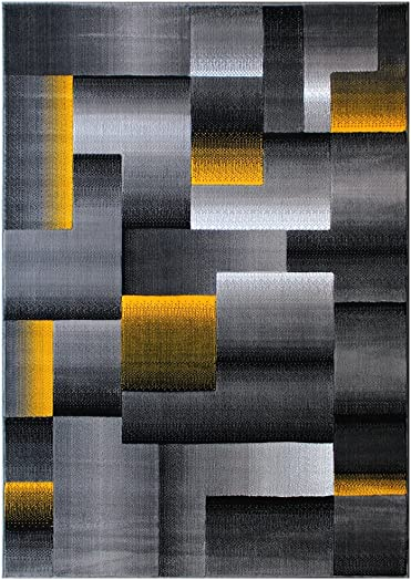 Masada Rugs, Modern Contemporary Area Rug, Yellow Grey Black 8 Feet X 10 Feet