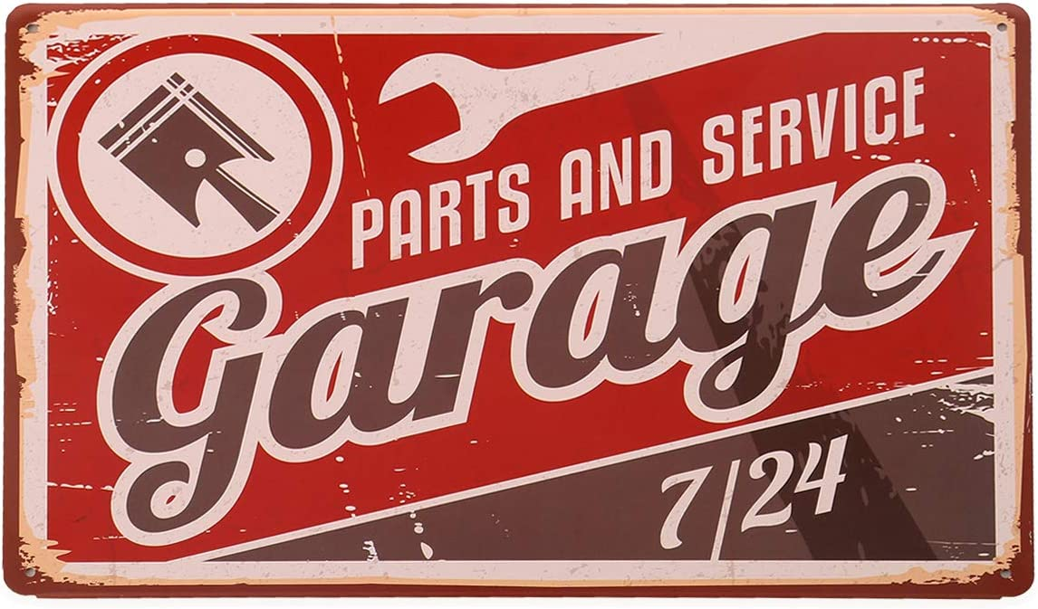 hantajanss Garage Metal Signs with Parts and Service for Garage Tin Sign Home Decoration 12 X 8 Inches