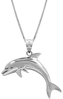 Amazon sterling silver dolphin necklace pendant with 18 box sterling silver dolphin necklace pendant with 18 box chain aloadofball Gallery