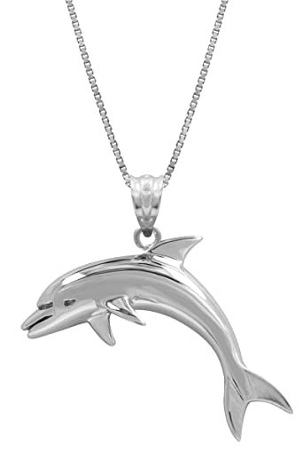 Amazon sterling silver dolphin necklace pendant with 18 box sterling silver dolphin necklace pendant with 18quot aloadofball Gallery