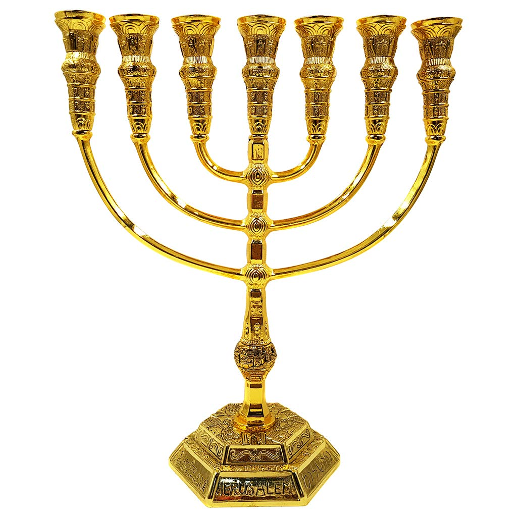 Talisman4U Jerusalem 7 Branch TEMPLE MENORAH 12 Tribes Of Israel Antique Gold Plated Candles Holder Height 9 Inch / 22 cm by Talisman4U (Image #4)