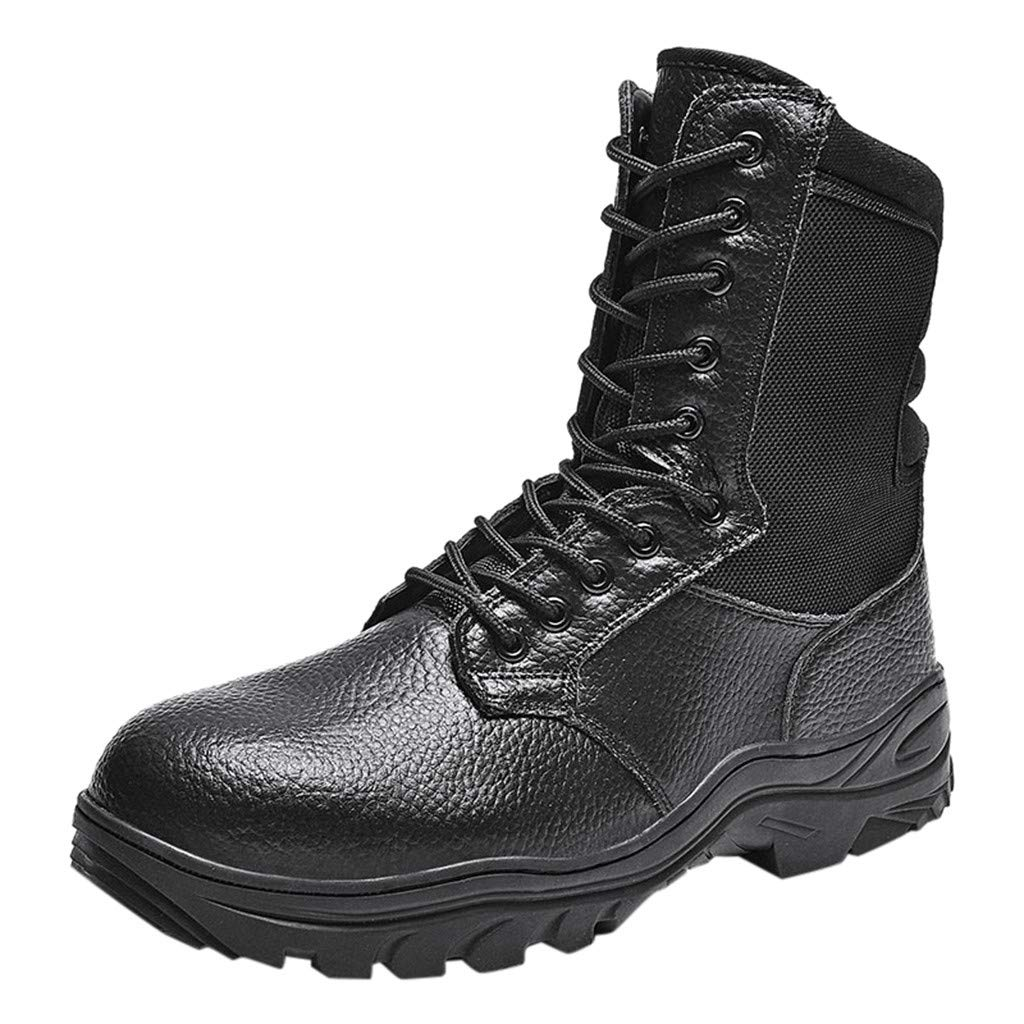 Men Hiking Boots - Fheaven High Top Trail Trekking Outdoor Working Waterproof Sneakers Backpacking Boot Walking Black by Fheaven-shoes